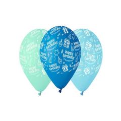 Μπαλόνι Happy Bday μπλε αποχρώσεις