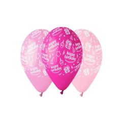 Μπαλόνι Happy Birthday ροζ αποχρώσεις 30εκ