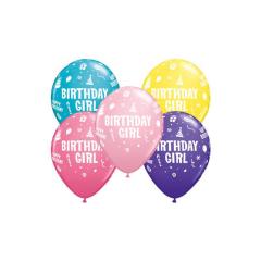 Μπαλόνια Λάτεξ Birthday Girl 5τμχ