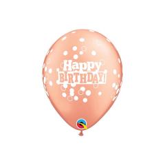 Μπαλόνια Λάτεξ Birthday Confetti Dots Ροζ-Χρυσό 5τμχ