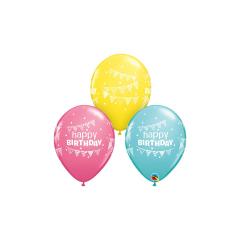 Μπαλόνια Λάτεξ Birthday Pennants & Dots Ast 5τμχ