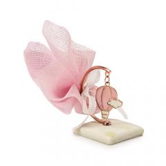 Μπομπονιέρα βάπτισης ροζ αερόστατο σε βάση