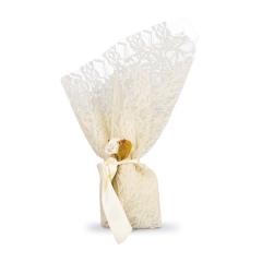 Μπομπονιέρα γάμου δαντέλα εκρού με λουλούδι