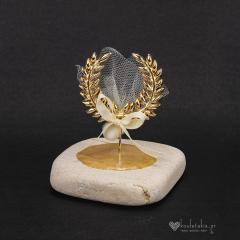 Μπομπονιέρα γάμου χρυσό στεφάνι ελιάς