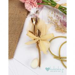 Μπομπονιέρα γάμου χρυσό λουλούδι με γυάλινο άνθος