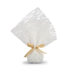 Μπομπονιέρα γάμου λευκή δαντέλα με πέρλα