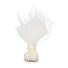 Μπομπονιέρα γάμου διπλό τούλι με πέρλες