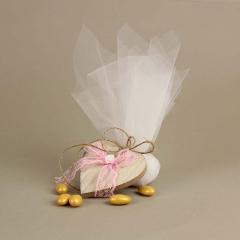 Μπομπονιέρα γάμου ξύλινη καρδιά με ροζ φιόγκο