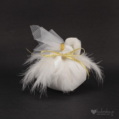 Μπομπονιέρα γάμου υφασμάτινη κολοκύθα λευκή
