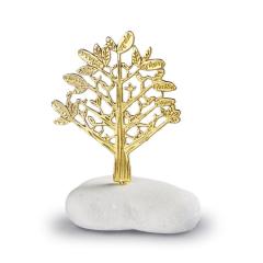 Μπομπονιέρα γάμου χρυσό δέντρο ζωής σε βότσαλο