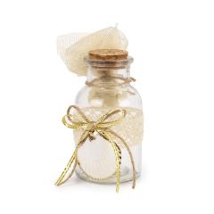 Μπομπονιέρα γάμου γυάλινο μπουκαλάκι με κοχύλι
