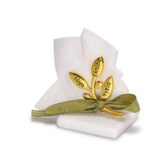 Μπομπονιέρα γάμου κλαδί ελιάς με ευχές