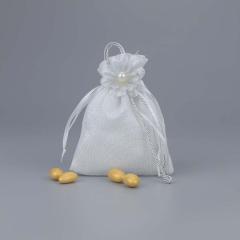 Μπομπονιέρα γάμου πουγκί γυαλιστερό με πέρλα