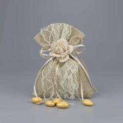 Μπομπονιέρα γάμου πουγκί καμβάς με λουλούδι