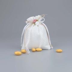 Μπομπονιέρα γάμου λευκό πουγκί καμβάς με λουλούδι