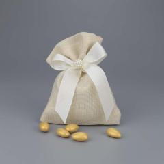 Μπομπονιέρα γάμου πουγκί γυαλιστερό με φιόγκο