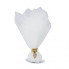 Μπομπονιέρα γάμο τούλι λευκό χρυσό φύλλο