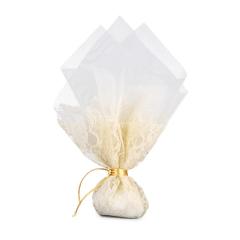 Μπομπονιέρα γάμου τούλι λευκό λέζα εκρού