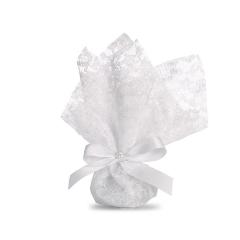 Μπομπονιέρα γάμου λευκή γάζα με γκρο φιόγκο