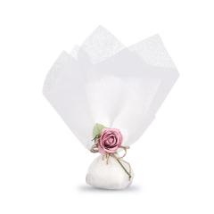 Μπομπονιέρα γάμου από λευκό τούλι με λουλούδι