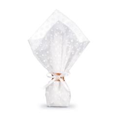 Μπομπονιέρα γάμου τουλι λευκό πουά οργάντζα