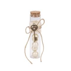 Μπομπονιέρα γάμου γυάλινος σωλήνας με κλειδί