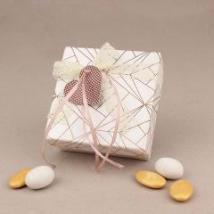 Μπομπονιέρα γάμου χάρτινο κουτάκι με γεωμετρικό μοτίβο