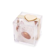 Μπομπονιέρα γάμου κουτάκι με ξύλινη καρδιά