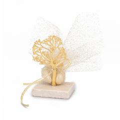 Μπομπονιέρα γάμου δέντρο χρυσό πέτρινη βάση