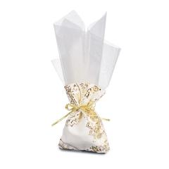Μπομπονιέρα γάμου πουγκί χρυσοτυπία με τούλι