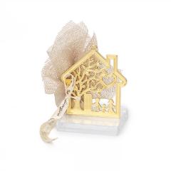 Μπομπονιέρα γάμου χρυσό σπίτι με οικογένια