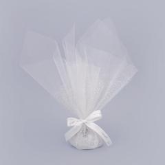 Μπομπονιέρα γάμου τούλι λευκό με ασημί γκλίτερ