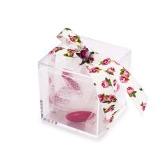 Μπομπονιέρα βάπτισης κουτάκι με χάρτινο τριαντάφυλλο