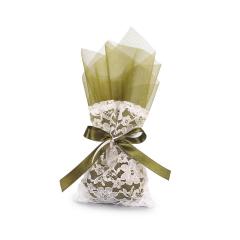 Μπομπονιέρα γάμου πουγκί με λαδί τούλι