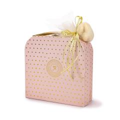 Μπομπονιέρα βάπτισης βαλιτσάκι ροζ χρυσό πουά