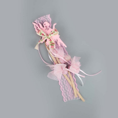 Μπομπονιέρα βάπτισης κρεμαστή ροζ νεράιδα