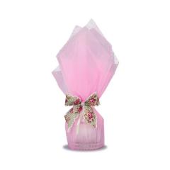 Μπομπονιέρα βάπτισης φοντανιέρα σε ροζ τούλι