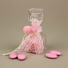Μπομπονιέρα βάπτισης μπουκαλάκι με ροζ ουρά γοργόνας