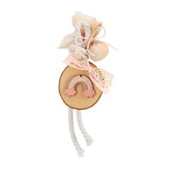 Μπομπονιέρα κρεμαστή κορμός με ροζ ουράνιο τόξο