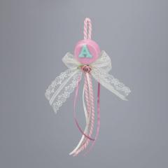 Μπομπονιέρα βάπτισης κρεμαστή ροζ σαπουνάκι μονόγραμμα