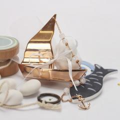 Μπομπονιέρα βάπτισης μεταλλικό χάλκινο καραβάκι