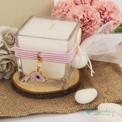 Μπομπονιέρα βάπτισης κερί με ροζ μάτι