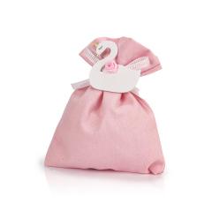 Μπομπονιέρα βάπτισης πουγκί ροζ με κύκνο