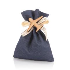 Μπομπονιέρα βάπτισης πουγκί μπλε με αεροπλανάκι