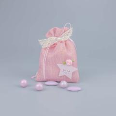 Μπομπονιέρα βάπτισης ροζ πουγκί με αστεράκι