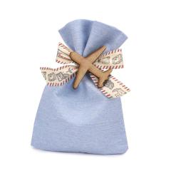 Μπομπονιέρα βάπτισης σιέλ πουγκί με αεροπλανάκι
