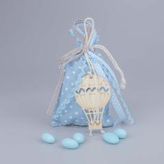 Μπομπονιέρα βάπτισης σιέλ πουγκί με αερόστατο