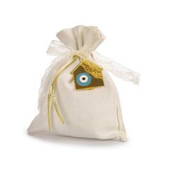 Μπομπονιέρα βάπτισης πουγκί με σπιτάκι μάτι