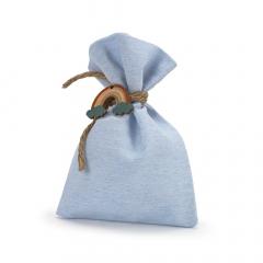 Μπομπονιέρα βάπτισης πουγκί σιέλ ουράνιο τόξο