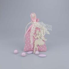 Μπομπονιέρα βάπτισης ροζ πουγκί με ξύλινη νεράιδα